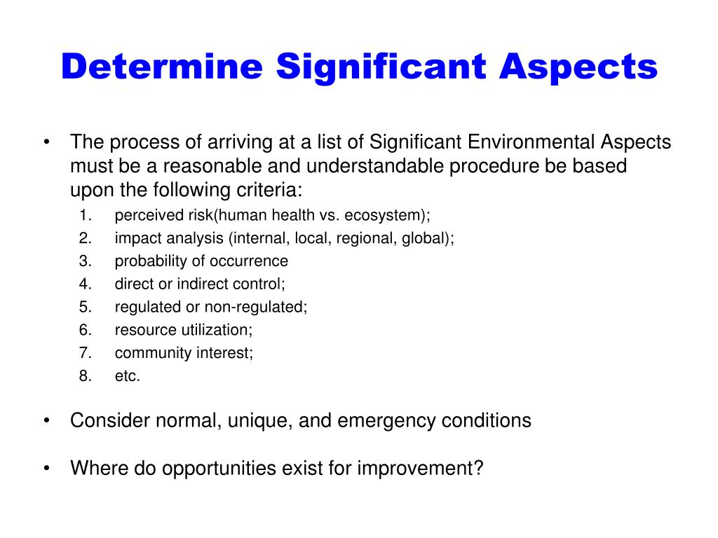 Determine Significant Aspects