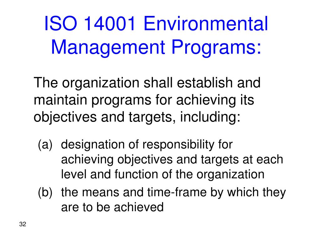 ISO 14001 Environmental Management Programs: