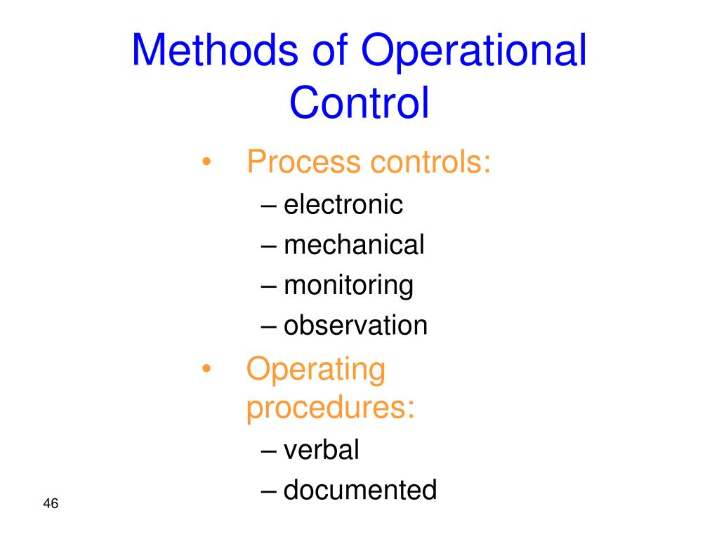 Methods of Operational Control