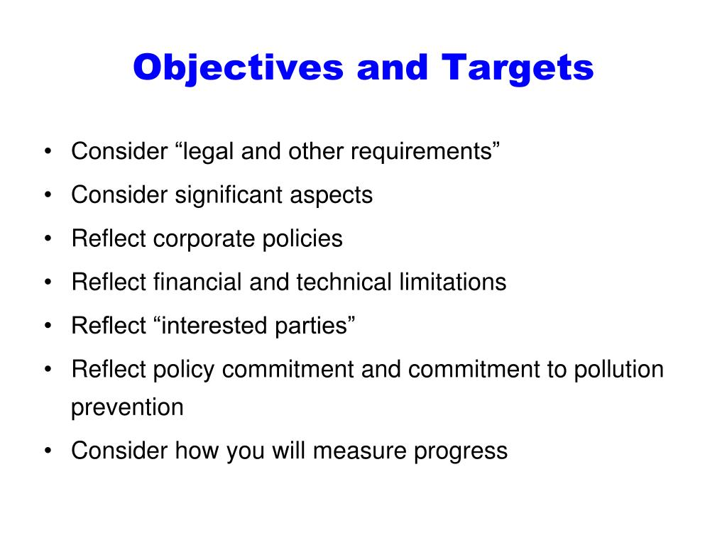 Objectives and Targets