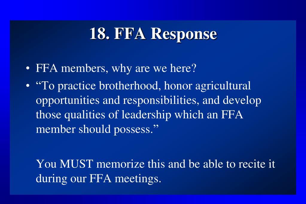 18. FFA Response