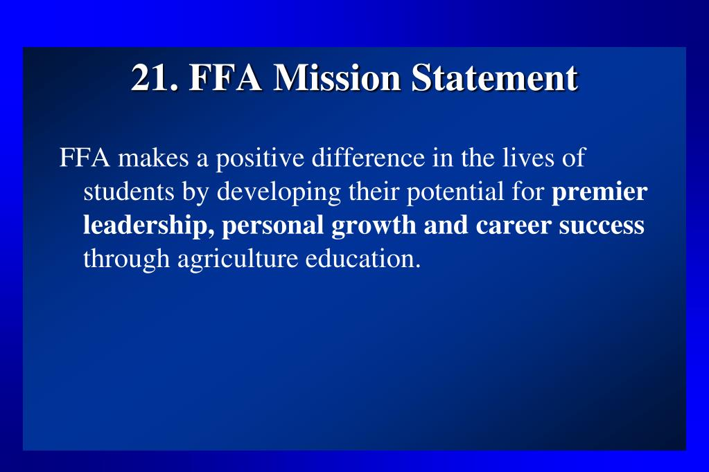 21. FFA Mission Statement