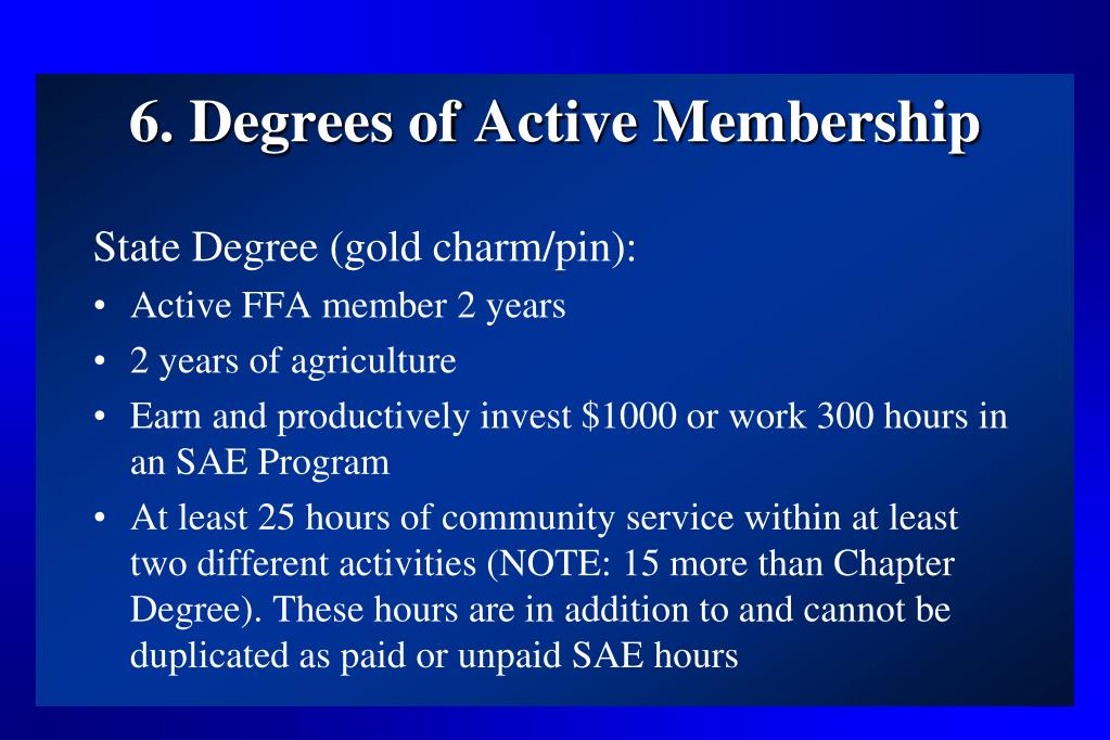 6. Degrees of Active Membership