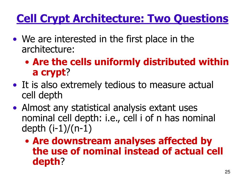 Cell Crypt Architecture: Two Questions