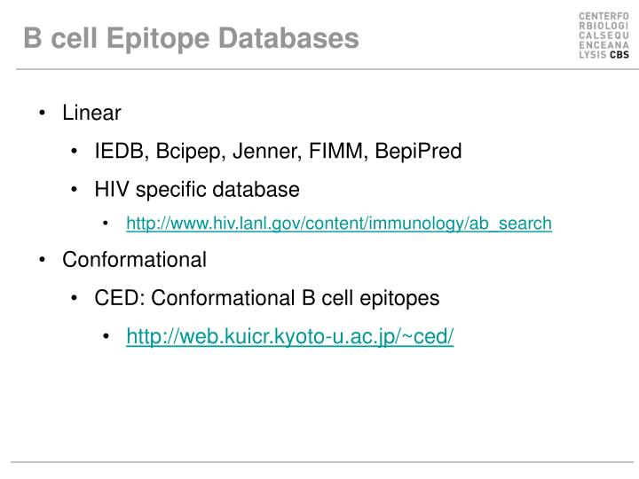 B cell Epitope Databases