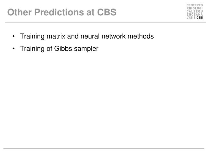 Other Predictions at CBS