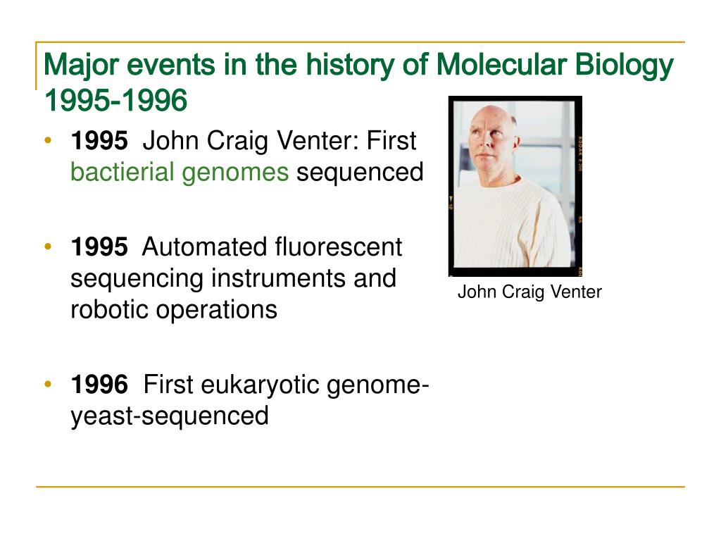 Major events in the history of Molecular Biology 1995-1996