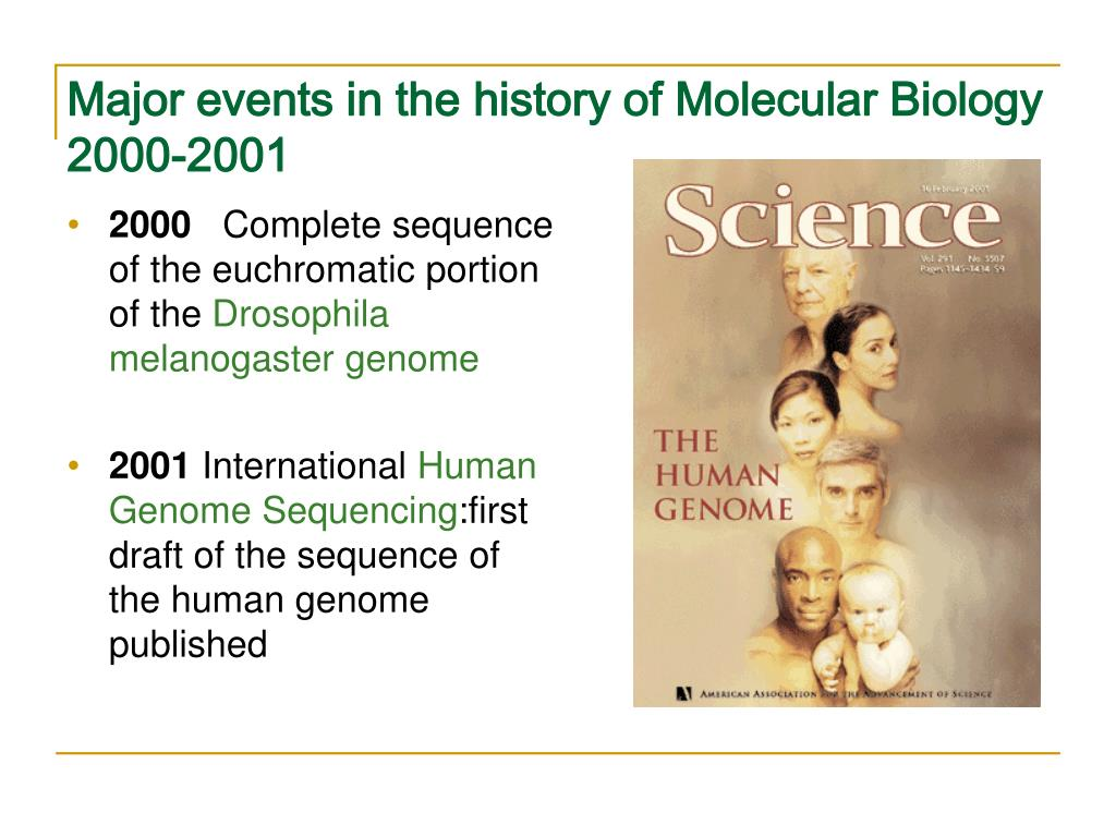 Major events in the history of Molecular Biology 2000-2001