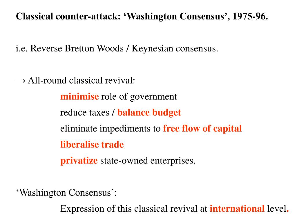 Classical counter-attack: 'Washington Consensus', 1975-96.