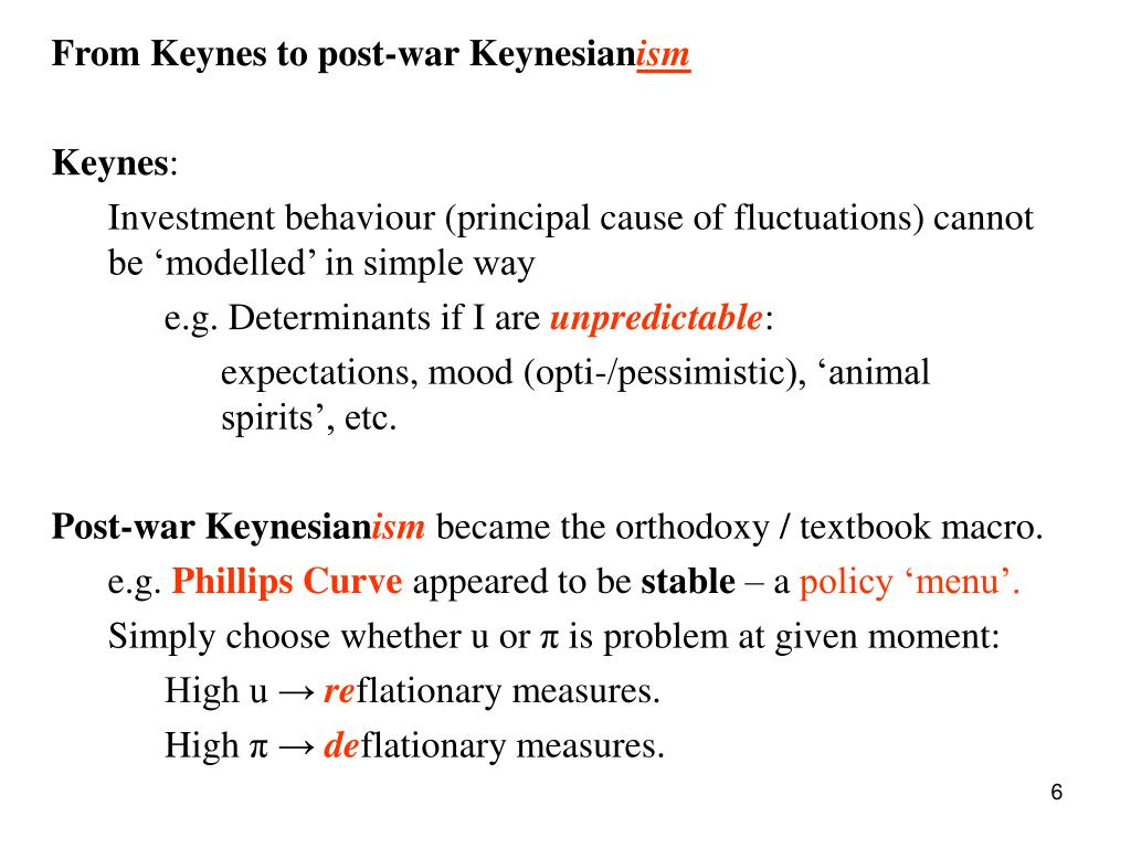 From Keynes to post-war Keynesian