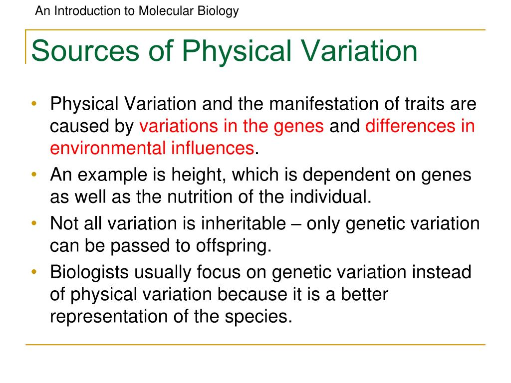 Sources of Physical Variation