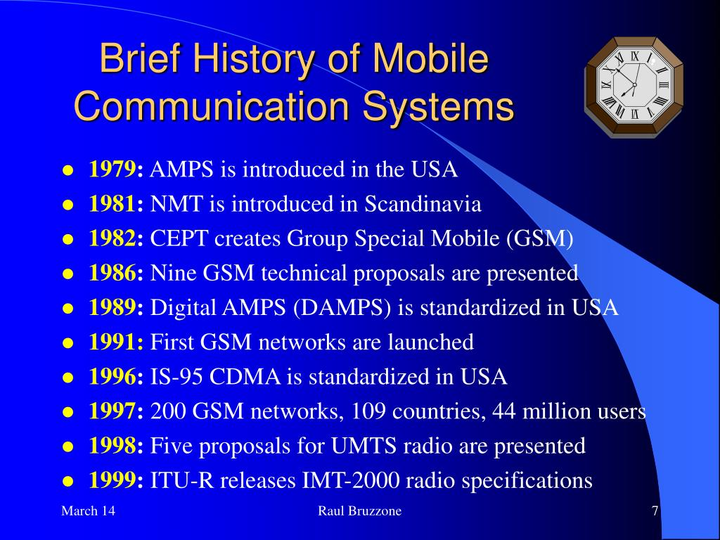 Brief History of Mobile Communication Systems