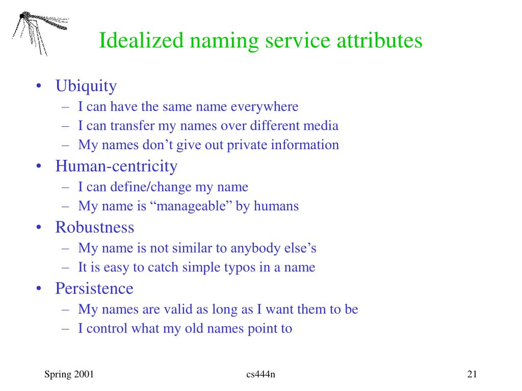 Idealized naming service attributes