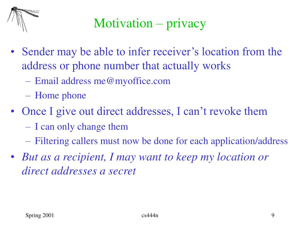 Motivation – privacy