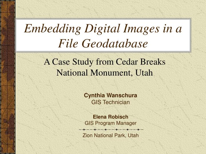 Embedding digital images in a file geodatabase