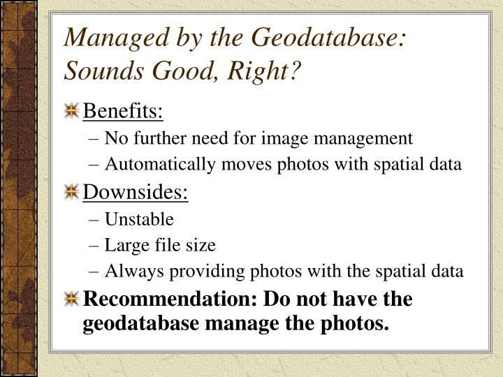 Managed by the Geodatabase: Sounds Good, Right?