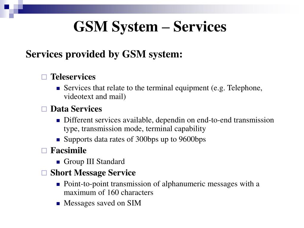 GSM System – Services