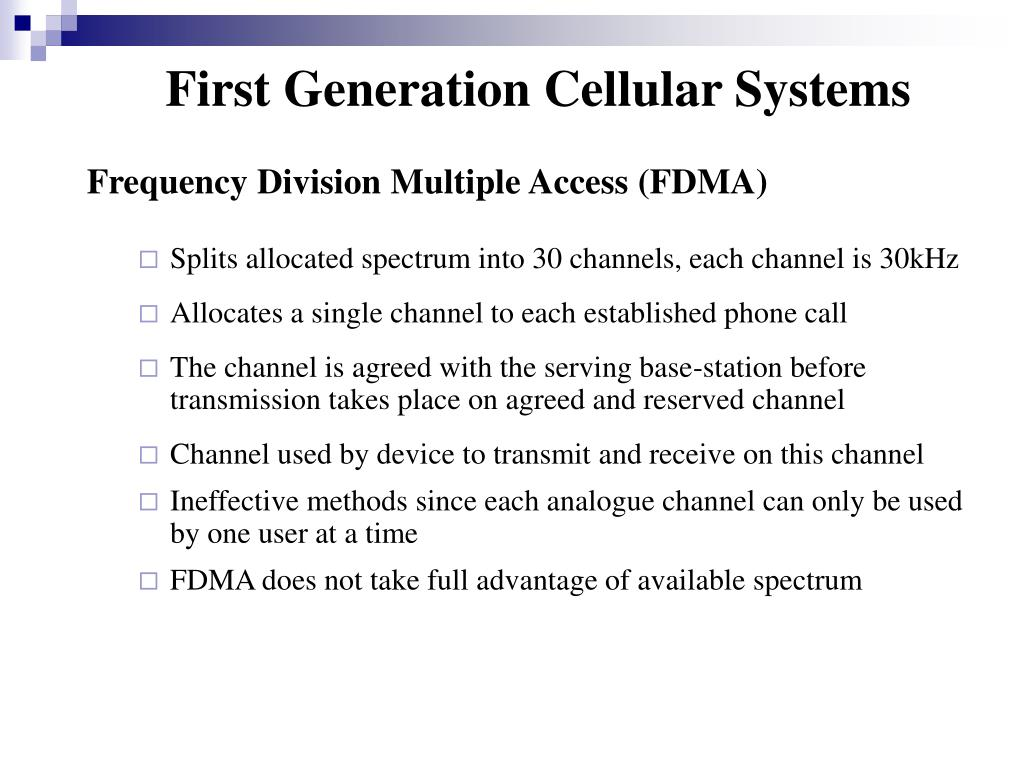 First Generation Cellular Systems