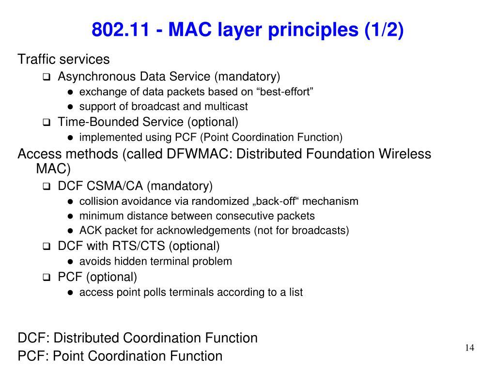 802.11 - MAC layer principles (1/2)