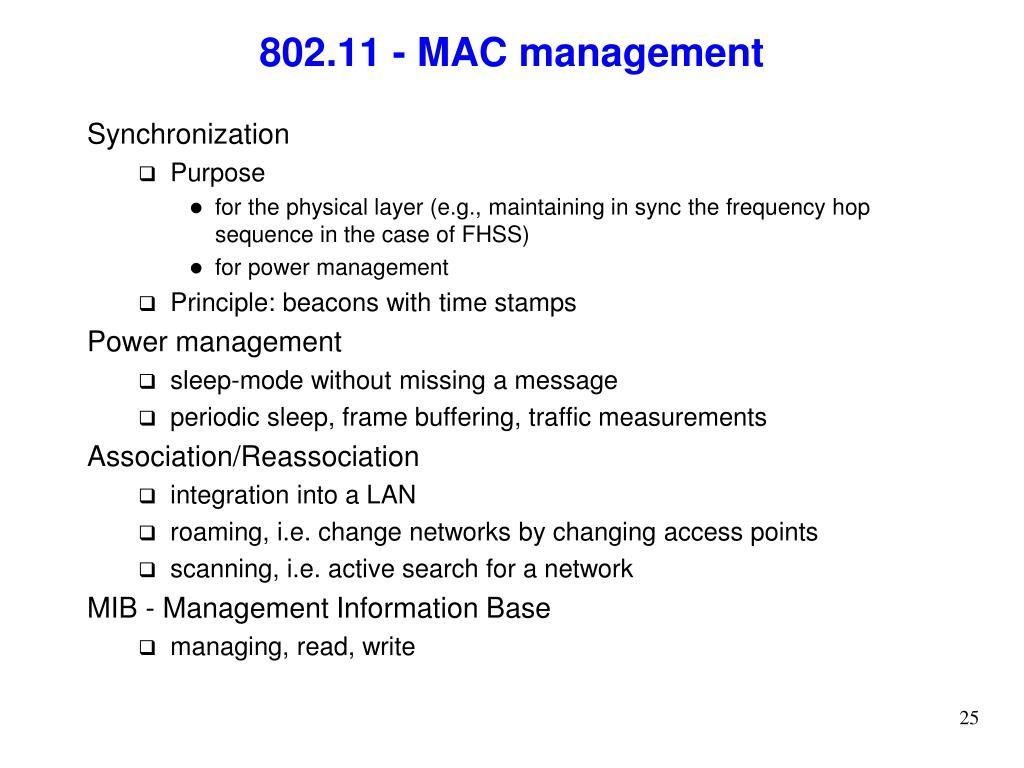 802.11 - MAC management