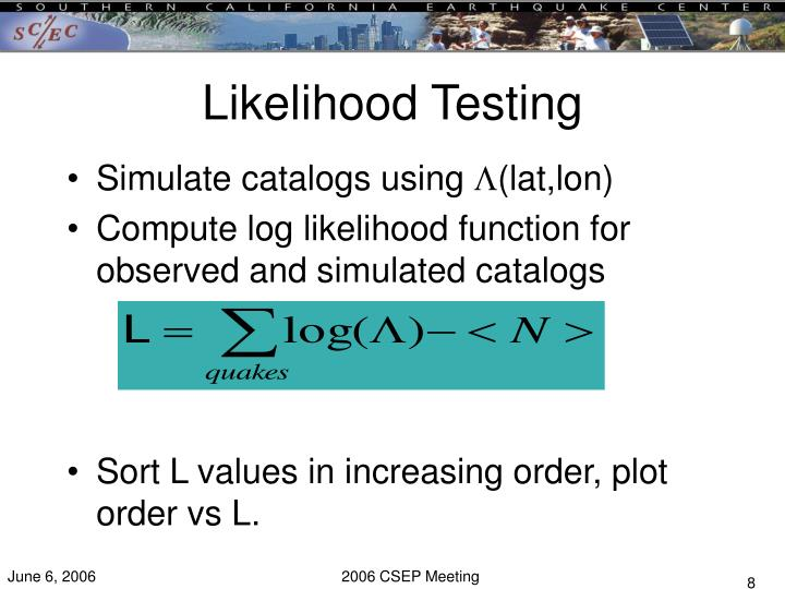 Likelihood Testing