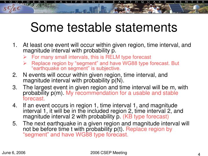 Some testable statements
