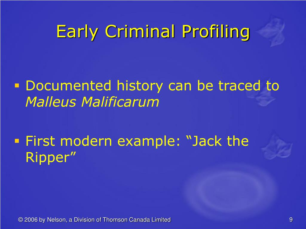 Early Criminal Profiling