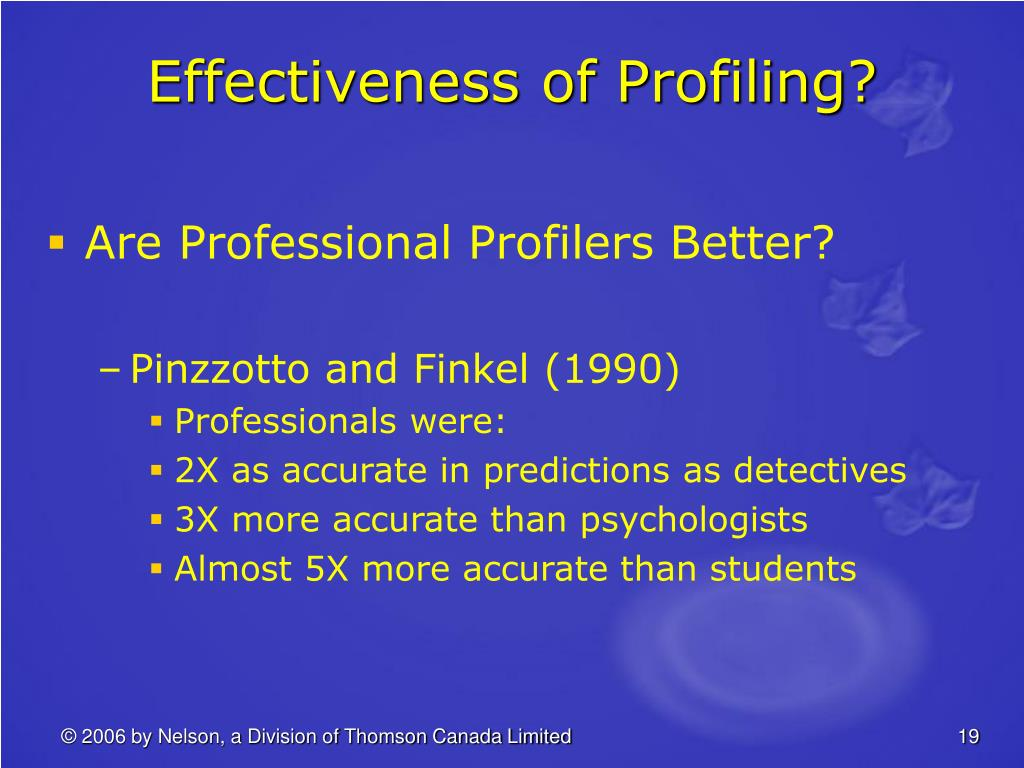 Effectiveness of Profiling?