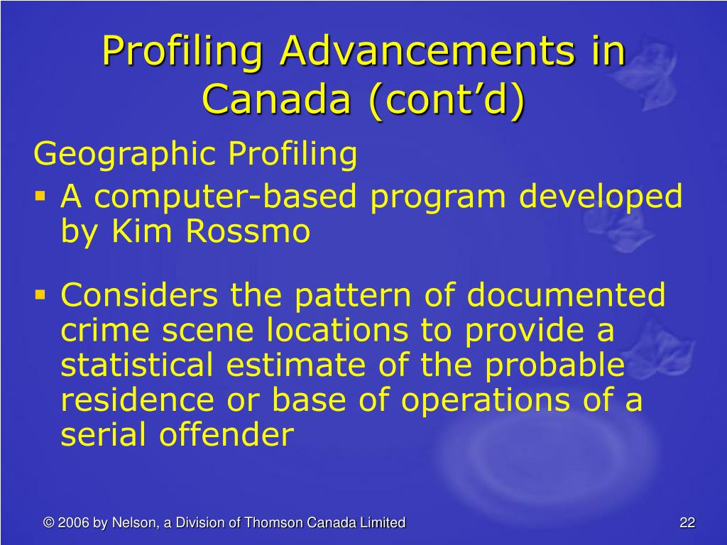 Profiling Advancements in Canada (cont'd)