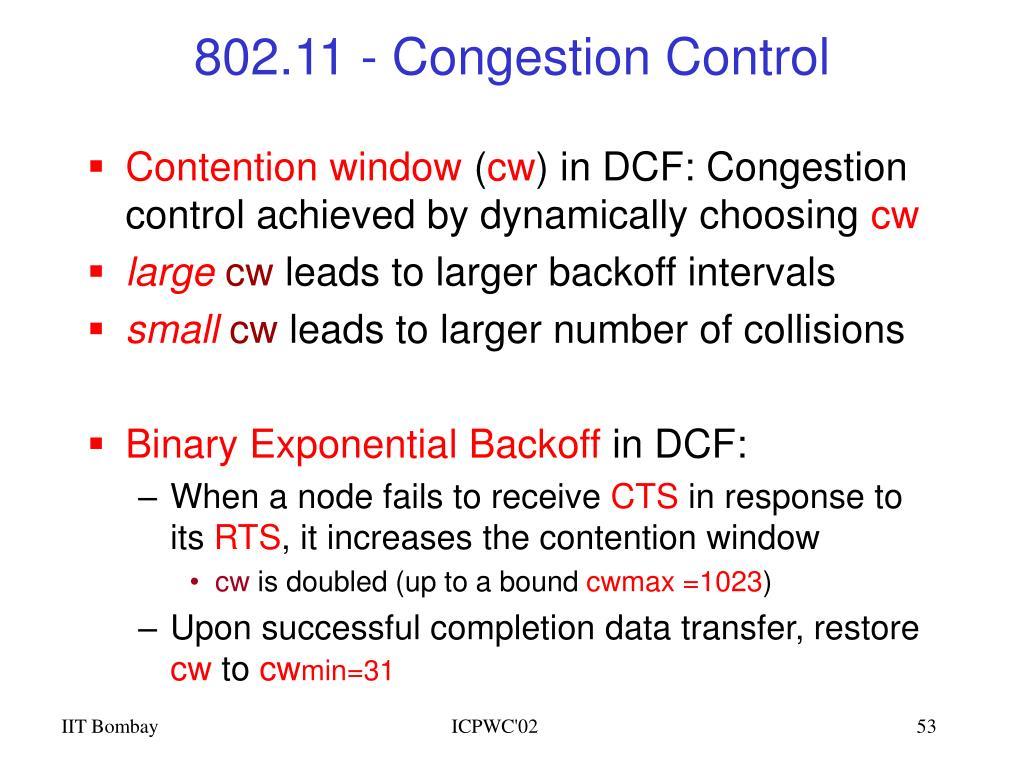 802.11 - Congestion Control