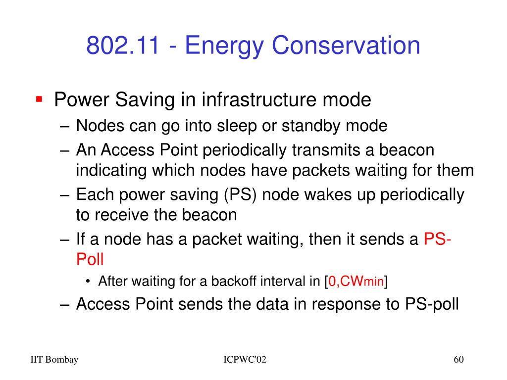 802.11 - Energy Conservation