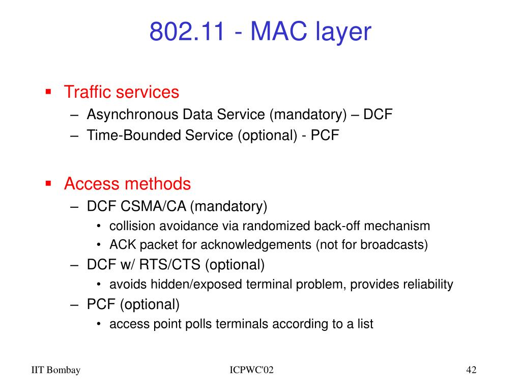 802.11 - MAC layer