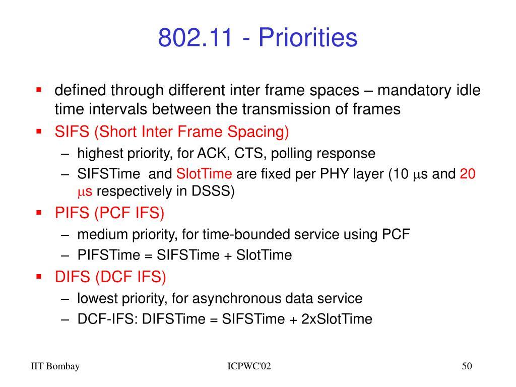 802.11 - Priorities