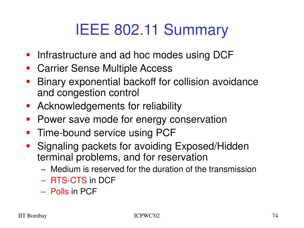 IEEE 802.11 Summary