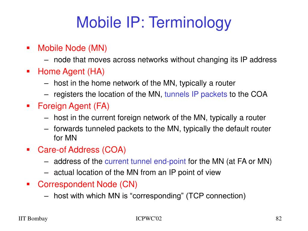 Mobile IP: Terminology