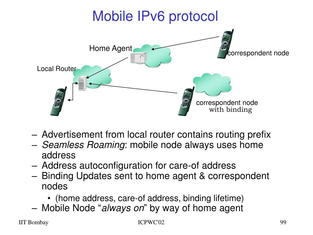 Mobile IPv6 protocol