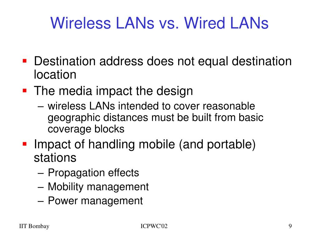 Wireless LANs vs. Wired LANs