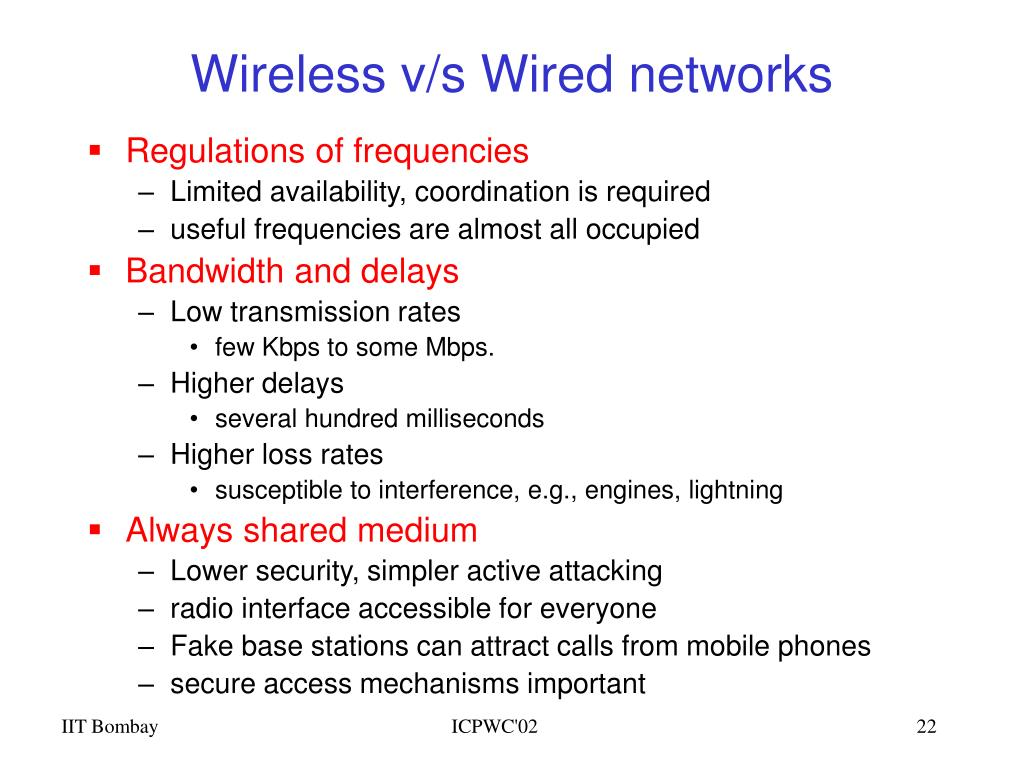 Wireless v/s Wired networks