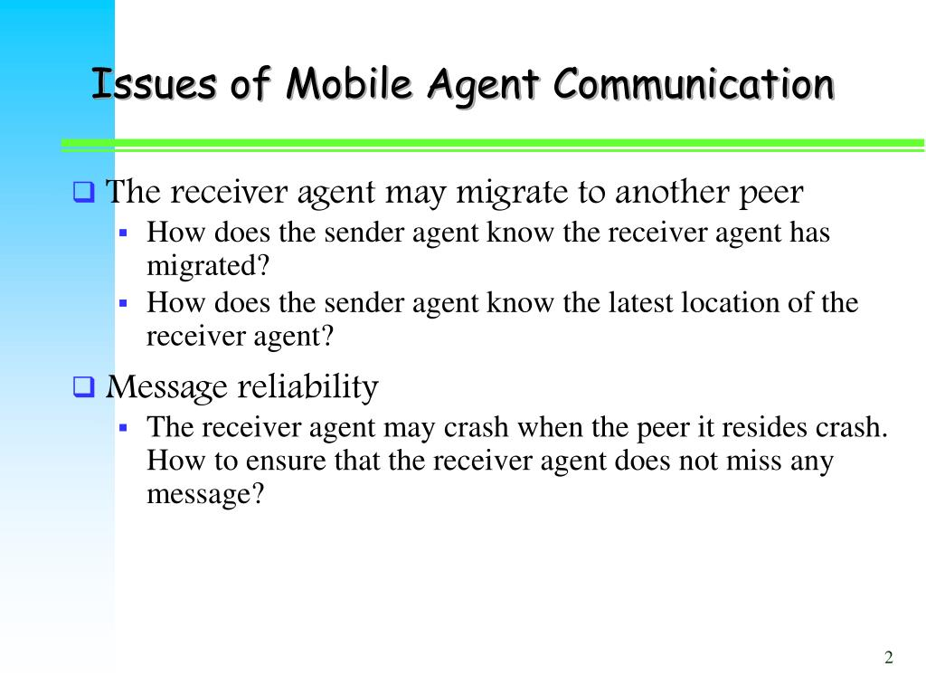 Issues of Mobile Agent Communication