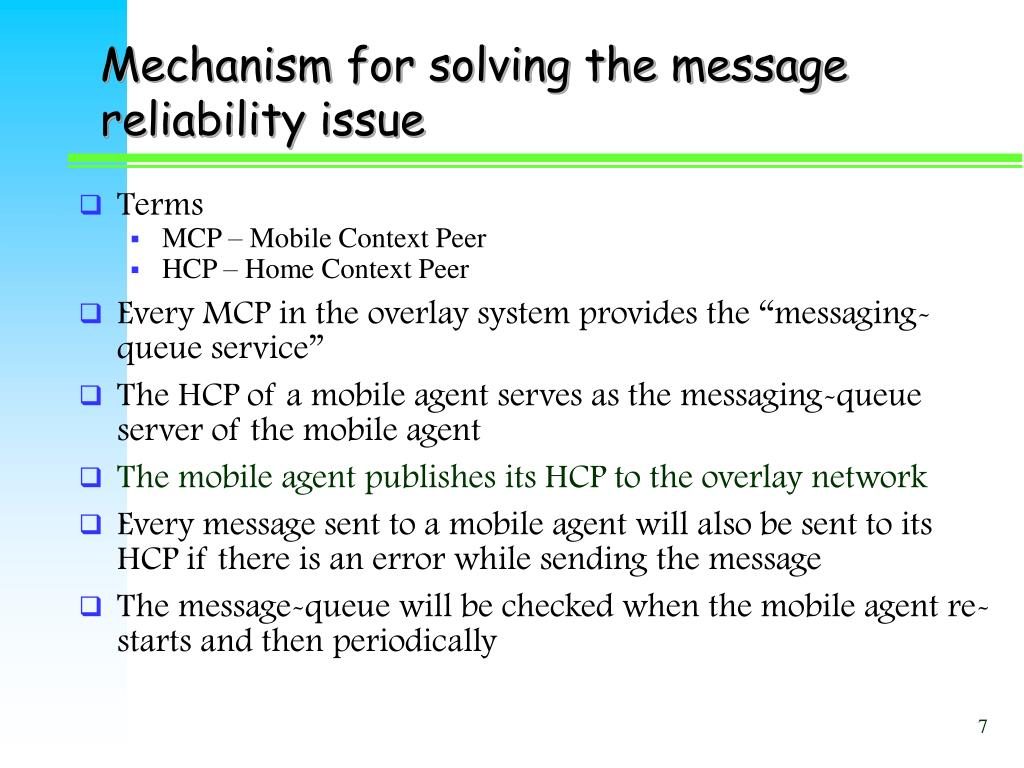 Mechanism for solving the message reliability issue
