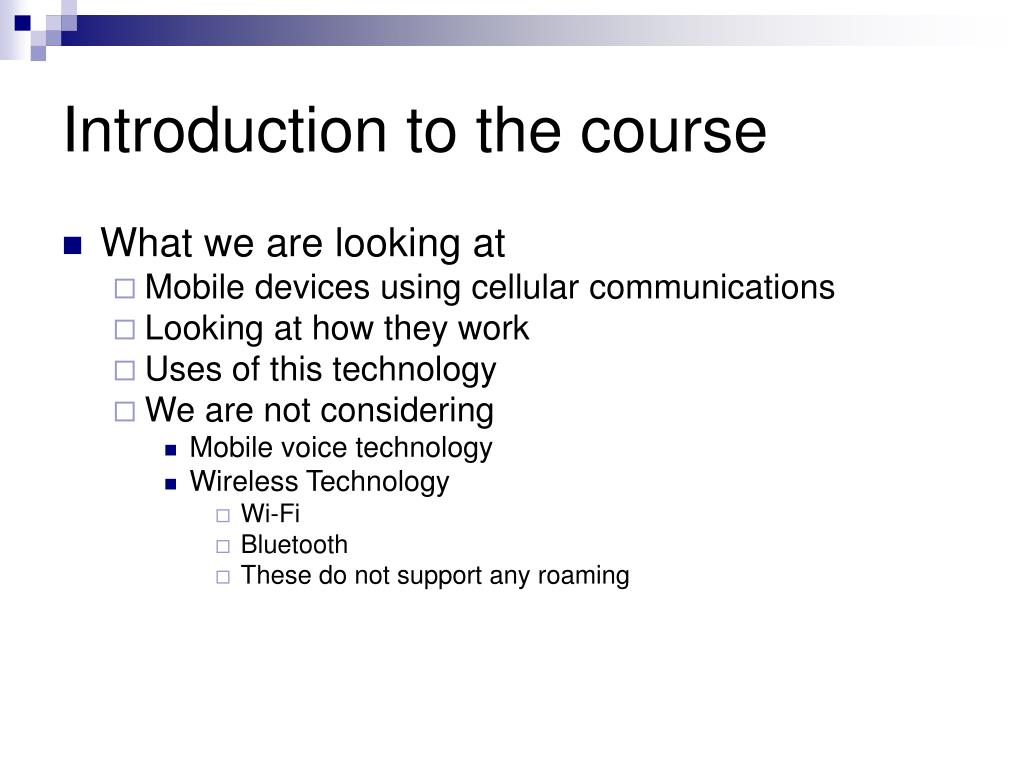 Introduction to the course