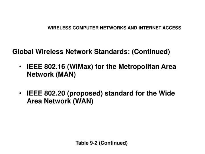 WIRELESS COMPUTER NETWORKS AND INTERNET ACCESS