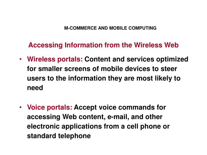 M-COMMERCE AND MOBILE COMPUTING