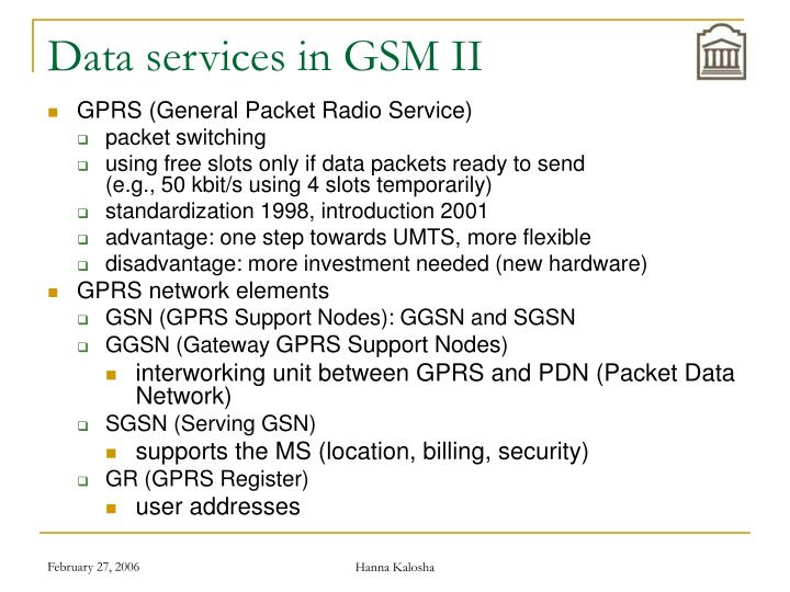 Data services in GSM II