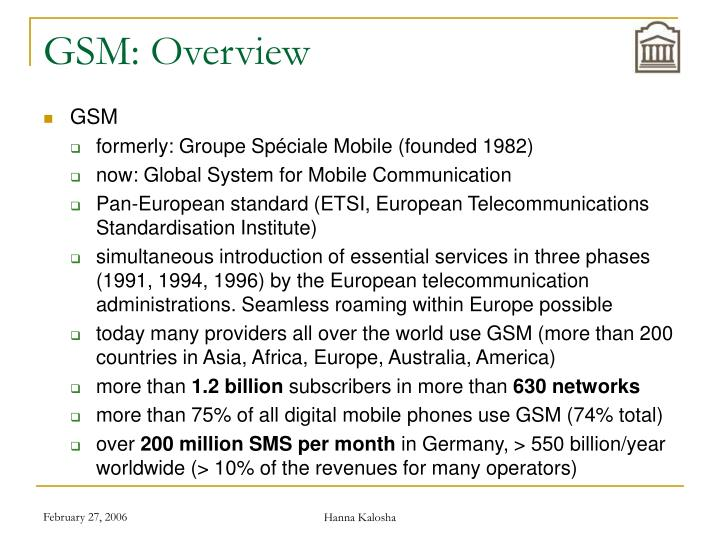 GSM: Overview