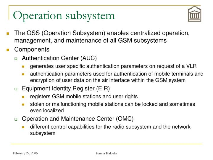 Operation subsystem
