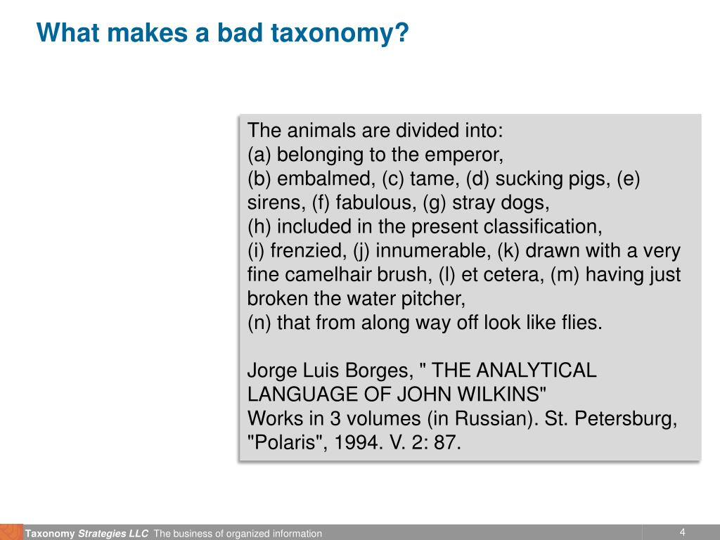 What makes a bad taxonomy?