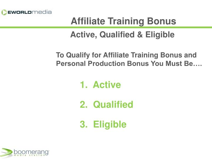 Affiliate Training Bonus