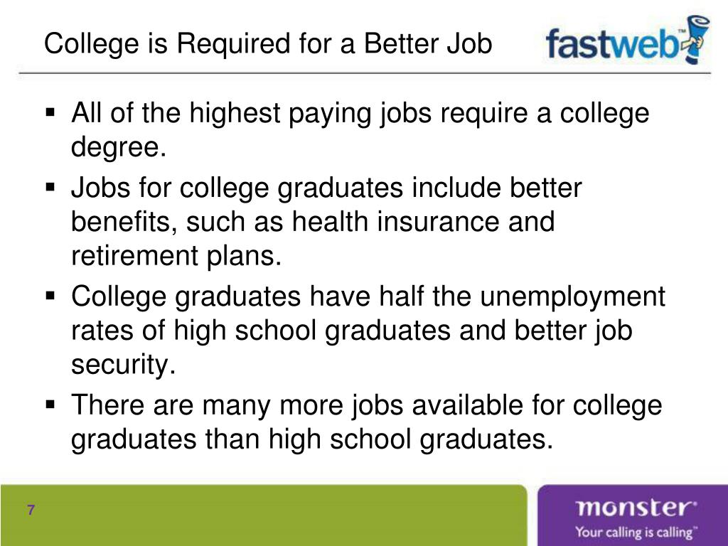 College is Required for a Better Job