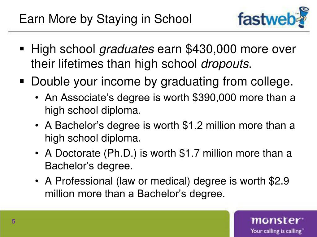 Earn More by Staying in School